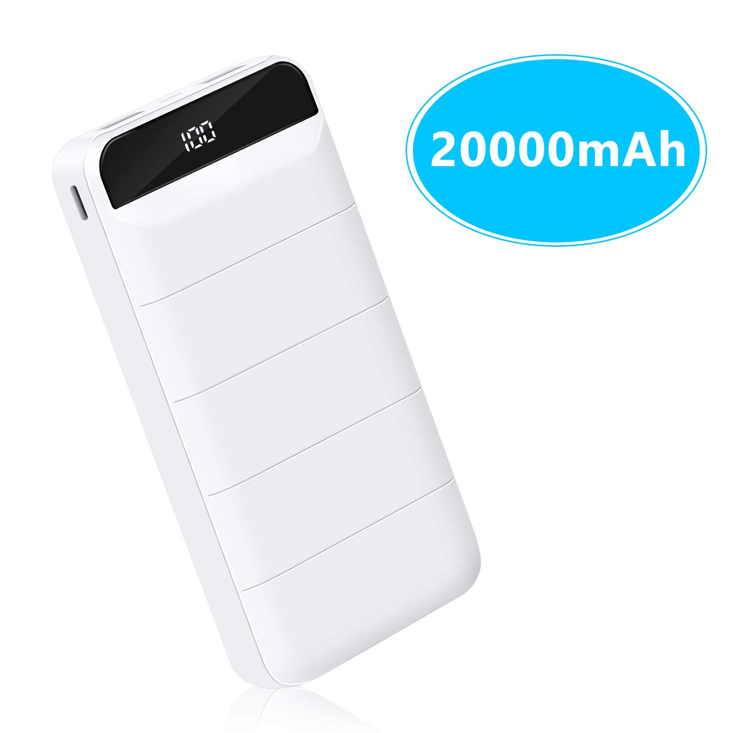 Power Bank 20000mAh High Capacity External Battery Power Bank with Smart Digital LED Display, Dual USB Output & Input Portable Charger for iPhone/iPad/Samsung and More (White) by BeeFix