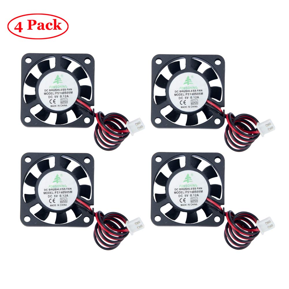 TeOhk 4PCS DC Cooling Fan 5V 0.12A with Cable, Terminal Mini Quiet for 3D Printer,Fan Module, (404010mm)