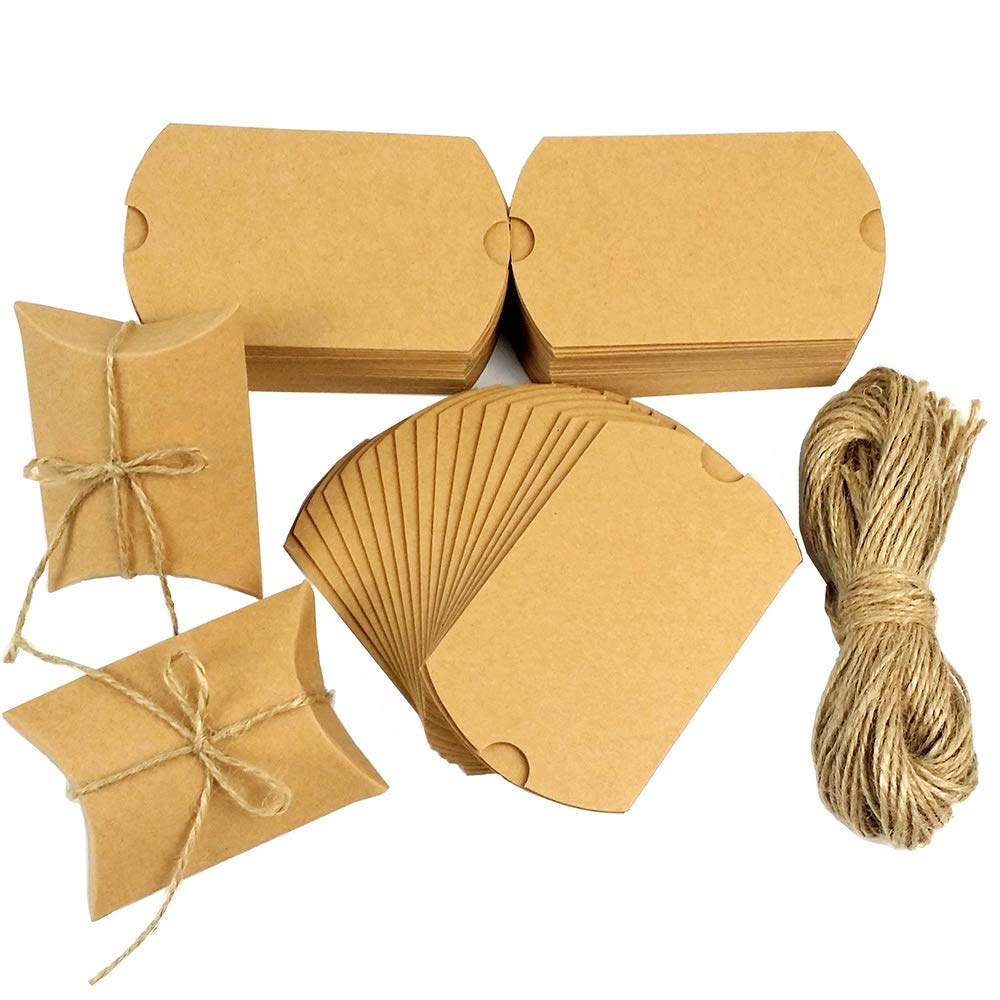 CEWOR 150pcs Kraft Pillow Box Paper Candy Favor Boxes for Wedding Party Favor Gifts + 150pcs Jute Twines