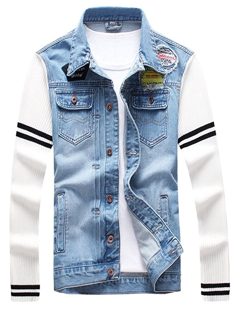 LifeHe 2018 Men's Slim Fit Patchwork Denim Jacket Patches