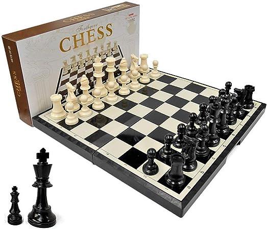 Ajedrez Juego de ajedrez Juego de tablero de ajedrez de madera estándar plegable con piezas de madera y ranuras de almacenamiento de piezas de ajedrez Juegos de ajedrez para niños y adultos: