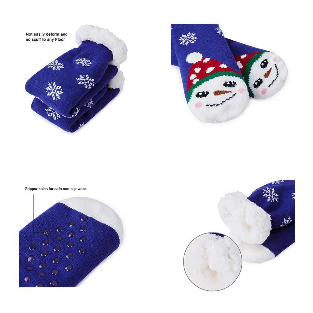 Goodstoworld Slipper Socks Thick Knit Cozy Fuzzy Knee Highs Casual Christmas Socks for Adults Men Women