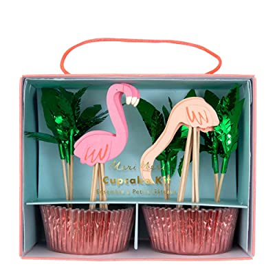 Meri Meri, Flamingo Cupcake Cases and Toppers Kit, DIY Party Decorations, Pink and Green - Pack of 24: Home & Kitchen