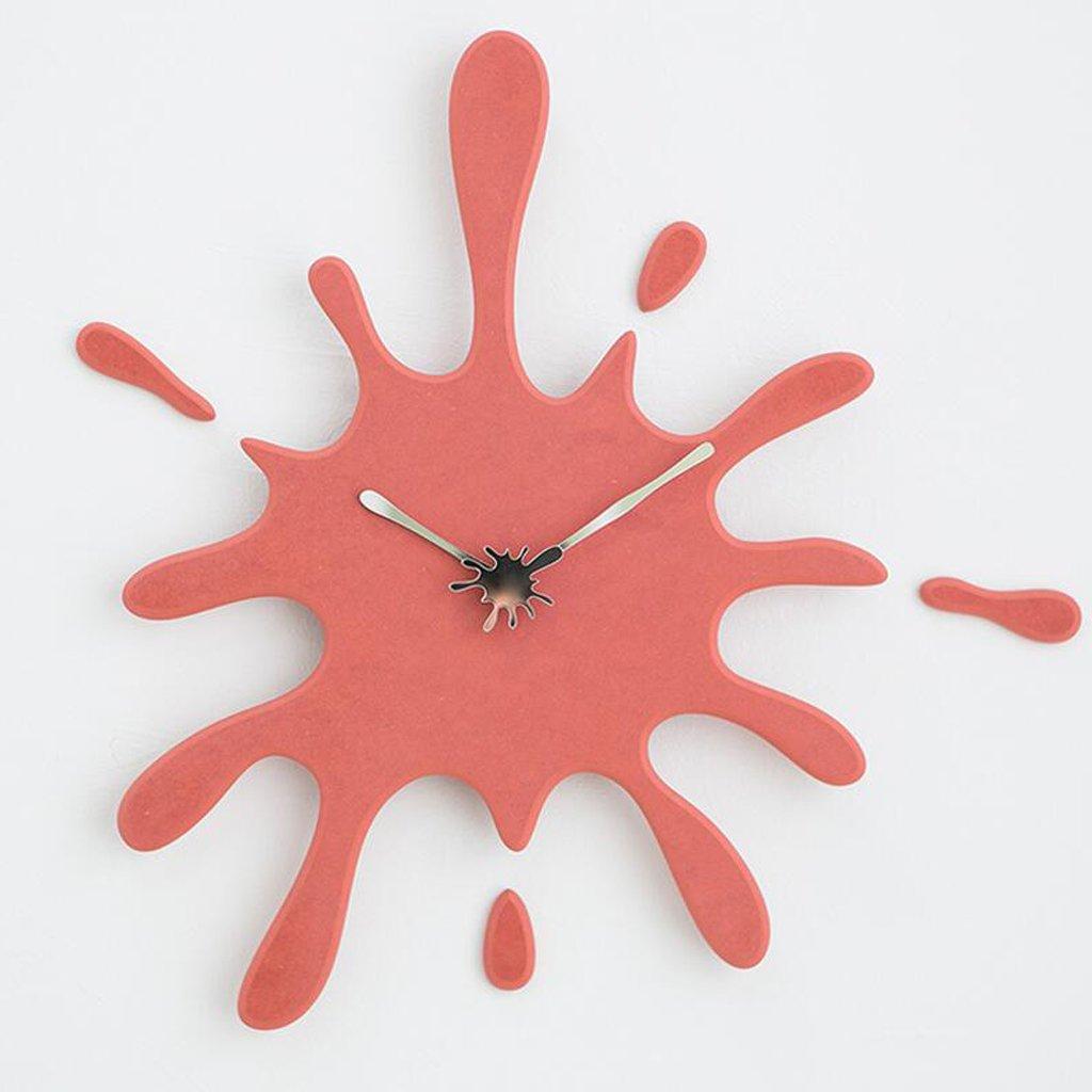 ホームアクセサリーウォールクロック壁時計 現代ミニマルミュートカラフルな水ドロップアールデコの壁時計リビングルームのベッドルームキッチンスタイリッシュな家の壁時計、50 * 48センチメートル CHENGYI (色 : 赤) B07D5WV1PK 赤 赤