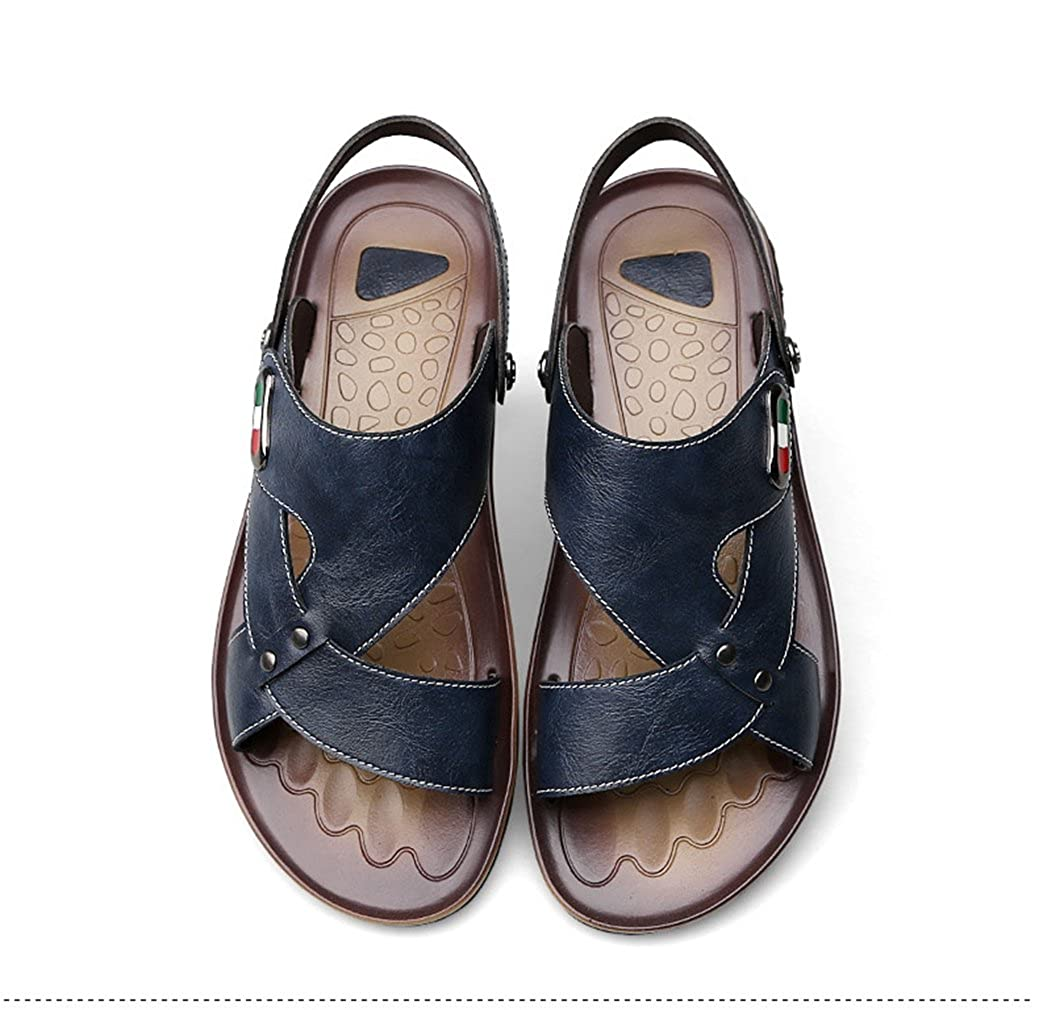 U-MAC Men's Open Sandals Open Men's Toe Hollow-Out Breathable Fashion Beach Slippers Casual Leather Comfort Shoes 7 D(M) US|Blue B07D782V48 adc881