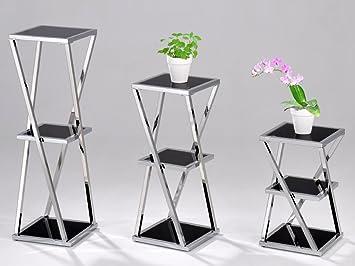 Hauteur Support Pour Plante Lot De 3 Viva Pot De Fleurs En Noir En