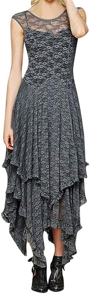 BAOHOKE Womens Elegant Sleeveless Irregular Lace Tiered Dress,Sexy ...