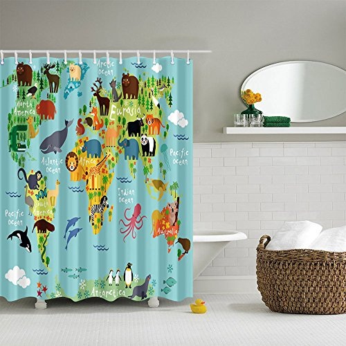 NYMB Animal World Map Bath Curtains, 100% Polyester Fabri...