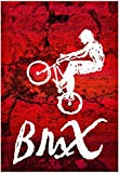 BMX Biking Sketch Sports Poster Print 13 x 19in with Poster Hanger