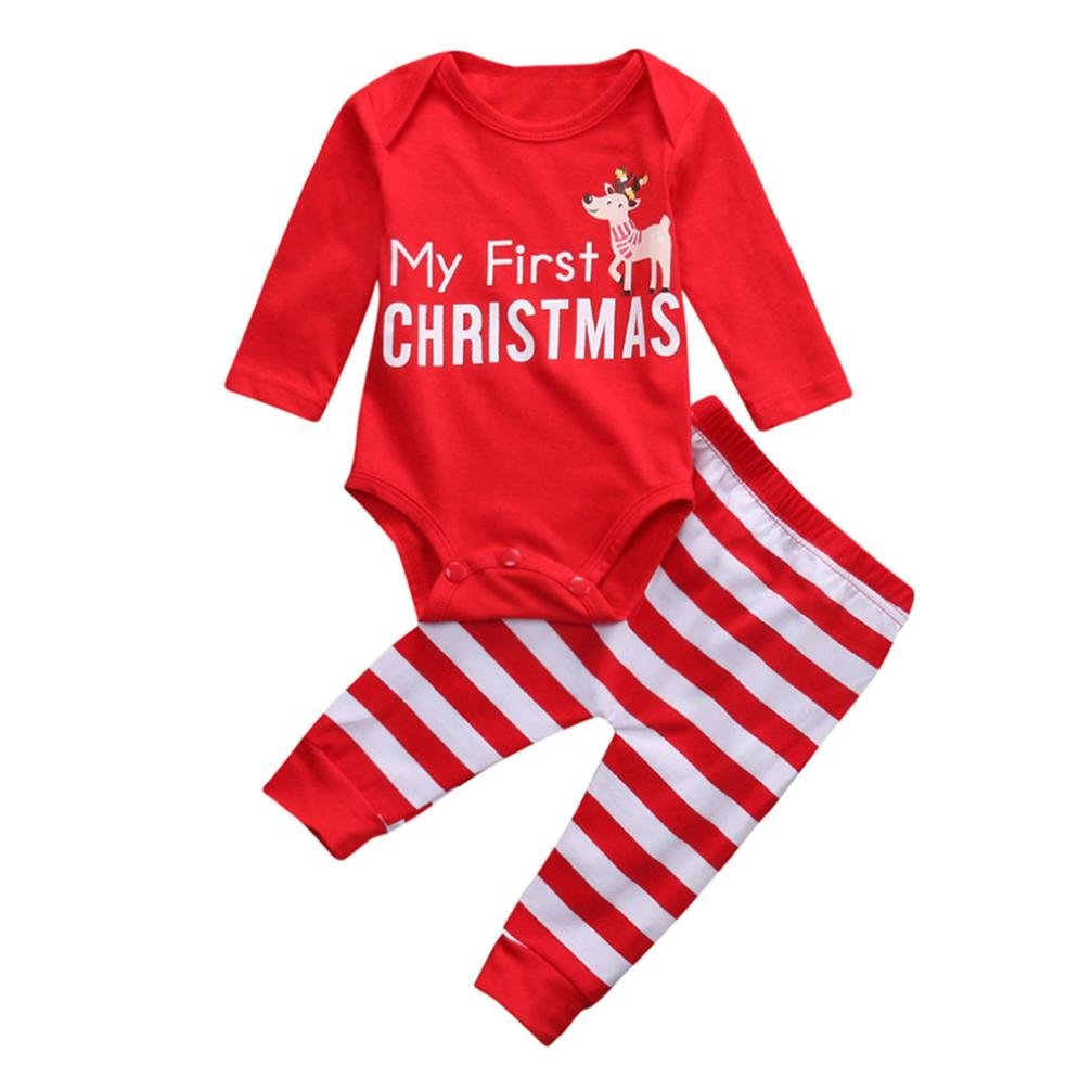 Raptop Christmas Baby Clothes, 2PCS Infant Baby Girls boys Christmas Deer Romper+Pants Set Outfit