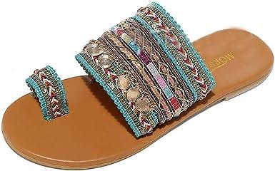 Alaso Sandales Femmes Plates,Bohème Tongs Grande Taille Flip