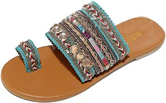 Aunimeifly Women Boho Sandals Greek Style Flip-Flops Ladies Ethnic Clip Toe Flats Slides Summer Shoes