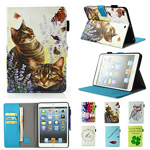 IPad Air / iPad Air 2 /New iPad 9.7 Inch 2017 Case Chgdss [Corner Protection]Auto Wake/Sleep Multi-Angle Viewing Folio Stand Cover/Card Slots, for Apple iPad 9.7(2017)/iPad Air 1 2-Cat and - Cat And Butterfly