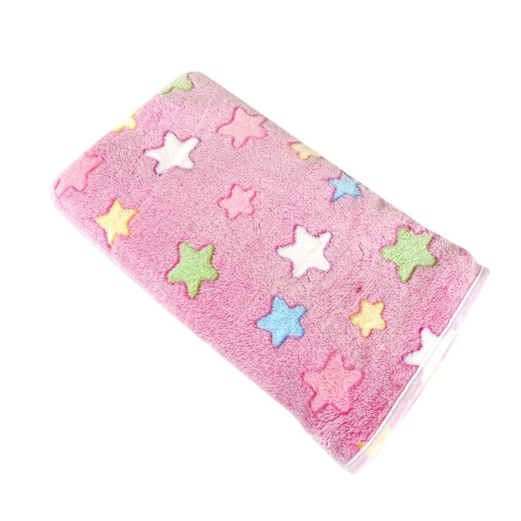OOEOO Pet Throw Blanket for Dog Cat Bed Rest Breathable Pet Cushion Soft Warm Sleep Mat (Pink, 40x60CM)