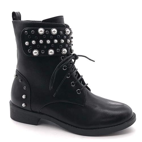 Angkorly Damen Schuhe Stiefeletten Combat Boots Biker Rock Nieten besetzt Perle Klettverschluss Blockabsatz 3.5 cm