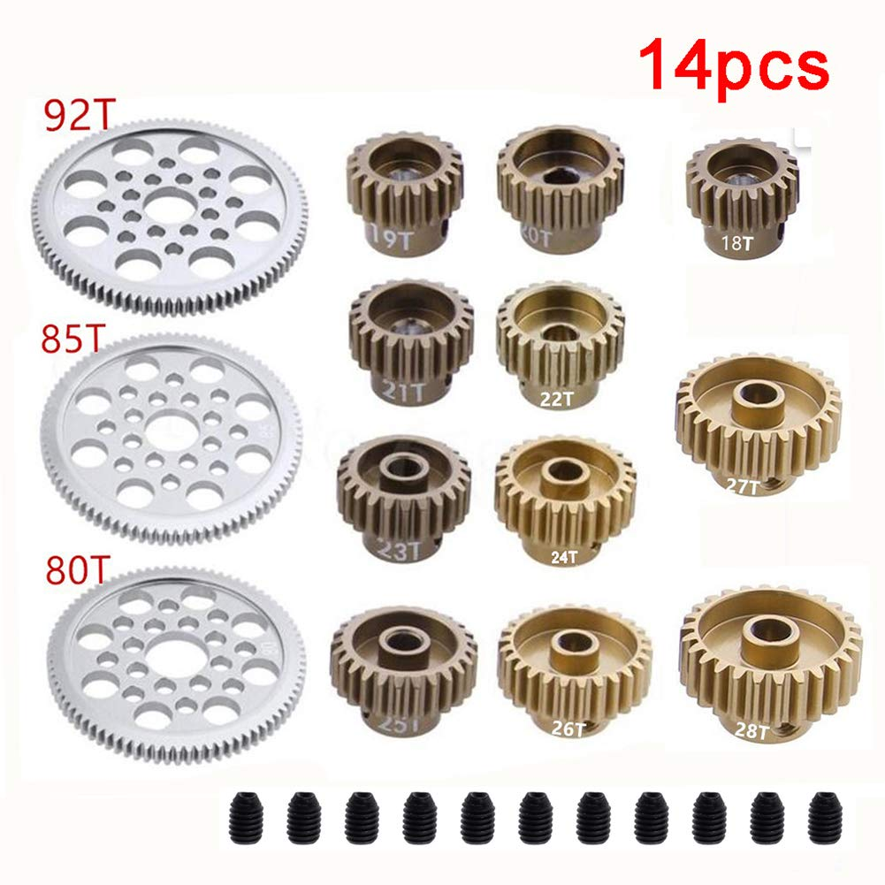 Fashionwu 14 Pcs Metal 48P Spur Gear 92T 85T 80T 18T Brush / Brushless Motor Pinion Gears 19T 20T 21T 22T 23T 24T 25T 26T 27T 28T for Sakura D3 XI Zero S 1:10 RC Drift Car