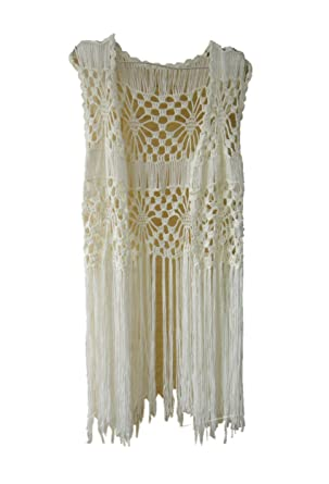 Crochet Bikini Cover Up Long Fringe Vest Hippie Womens Summer Tops