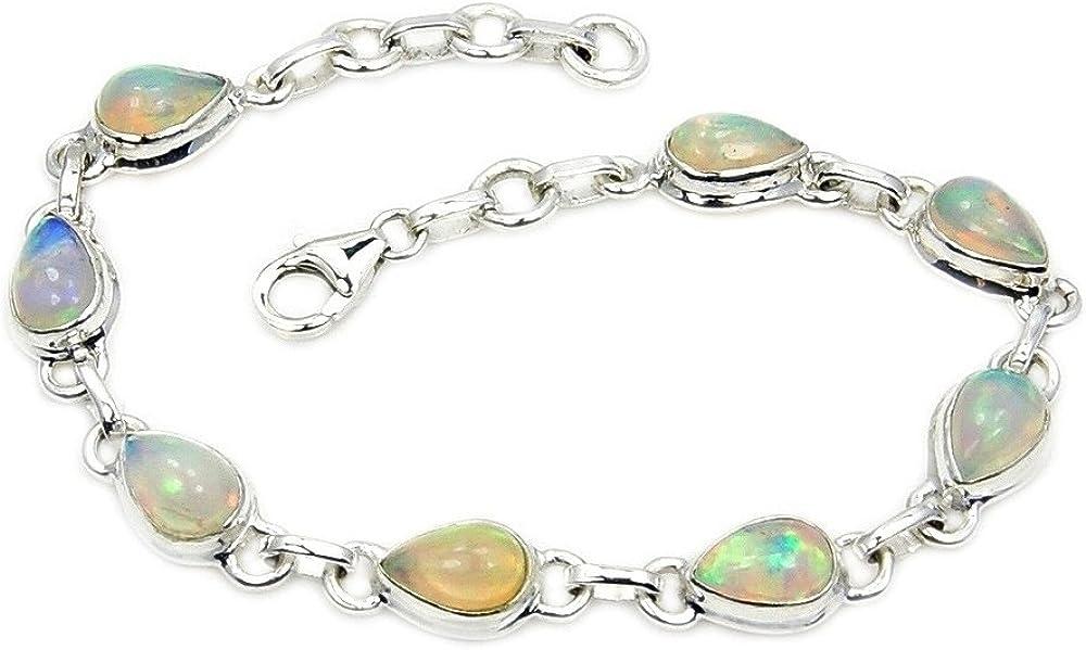 31.60 Carat Natural Ethiopian Opal Plain Round Bracelet With Adjustable Chain JP47
