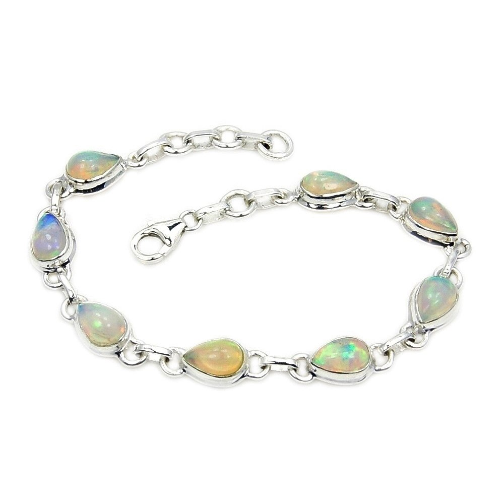 Sterling Silver Rare Natural Ethiopian Opal Bracelet, Adjustable From 7.5''-8.25''