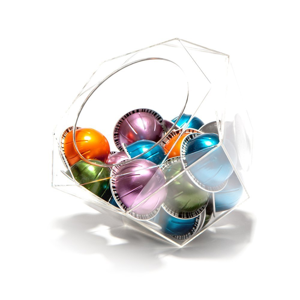 Nespresso Vertuoline Compatible Hexagon Plexiglass Capsule Pod Holder, Clear Dispenser, Storage Solution for Nespresso Machines and Keurig K-Cups - Fits 40 Capsules Verre Collection SR-101