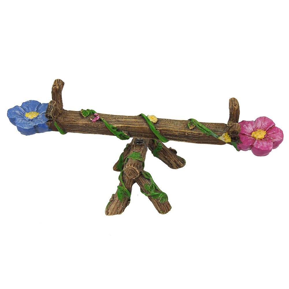 NW Wholesaler Fairy Garden Supply - Fairy Furniture Collectibles - Teeter Totter with Vines & Flowers