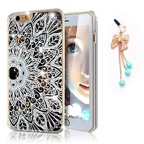 iPhone 6 Case,Sunroyal Sparkly Hard PC Floating Moving Liquid Water Quicksand Bling Stars Fantasy Cover with Datura Floral Pattern Bow Anti-dust Plug for iPhone 6s 4.7