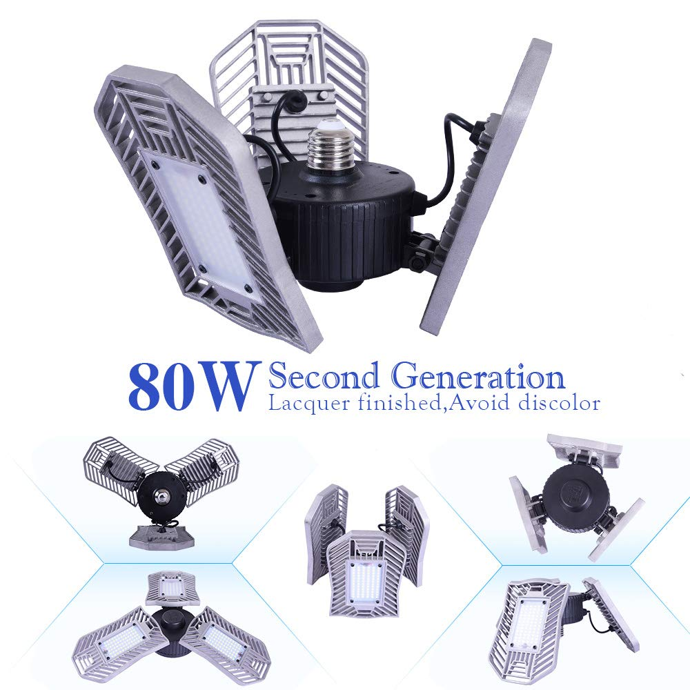Garage Lighting 80W,Led Garage Lights 8000lm,E26 Garage Light,led Garage Ceiling Lights,Led Shop Lights,Workshop Light,Garage led Bulbs,Super Bright led Bulbs Light (Daylight, 80W''Ordinary'')