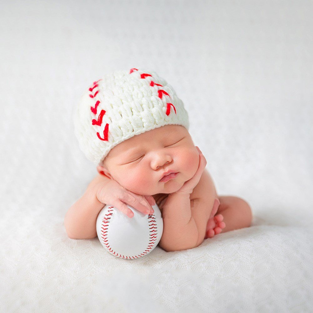 Amazon.com  Baby Photography Props Baseball Cap Newborn Boy Girl Photo  Shoot Outfits Crochet Costume Infant Knitted Hat Sets  Baby 8bded34f8b5