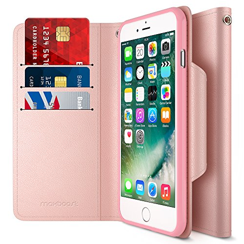iPhone 7 Plus Case, Maxboost [Folio Style w/Hand Strap] Premium iPhone 7 Plus Wallet Cases Stand Feature for Apple iPhone 7 Plus 2016 [Rose Gold] PU Leather Flip Cover Card Slot+Side Pocket