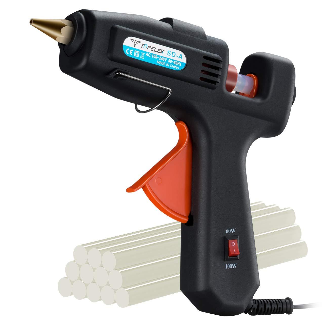 Hot Glue Gun, TopElek 60W/100W Dual Power Glue Gun with 12PCS Glue Sticks, Full Size (Not Mini) High Temperature Melt Glue Gun Kit, for DIY Small Crafts, Arts, Home Quick Repairs, Festival Decoration