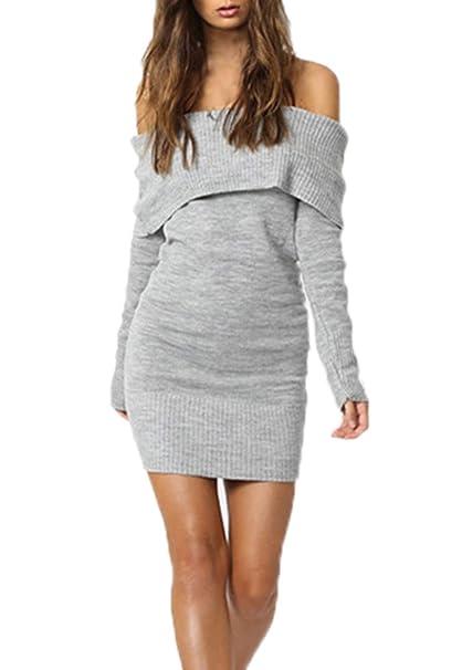... Primavera Otoño Mujeres Mini Vestido de Suéter Sexy Apretado Paquete de  Cadera Vestidos de Partido Fiesta Cóctel Eventos Moda Cuello Barco Manga  Larga ... 900982138f76