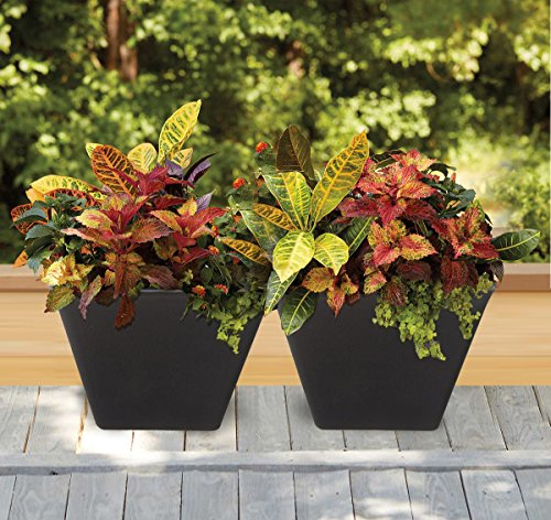 Large Planter 14.6'' Resin Flower Pot Set 2, Indoor Outdoor Garden Patio Planters, Black, Unbreakable by LA JOLIE MUSE (Image #5)