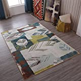 Leaves Home Rugs Rustic Feelings - MeMoreCool No Fading Anti-slipping Retro Style Living Room Tea Table Carpets 79 X 118 Inch