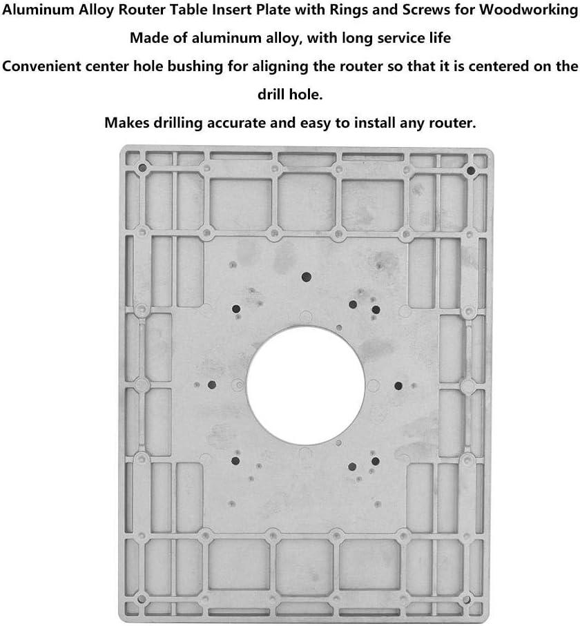 Router Tischeinlegeplatte Aluminiumlegierung Router Tischeinlegeplatte mit Ringen und Schrauben f/ür die Holzbearbeitung
