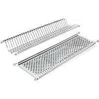 Emuca - Escurridor de platos y vasos de acero inoxidable para muebles de cocina de ancho 90 cm