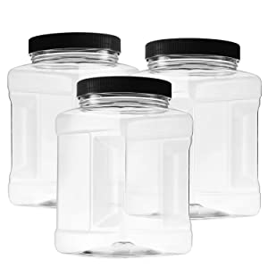48 Oz Plastic Storage Jars with Lids Pack of 3 - Large Clear Empty 48 Oz Containers - Square Food Grade Air Tight with Easy Grip Handles - BPA Free Multi Purpose Jar