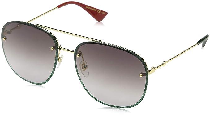 97527f8b78d Image Unavailable. Gucci GG0227S GOLD GLITTER GREEN GREY SHADED women  Sunglasses