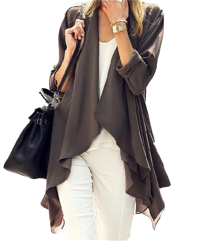 NQ Women's Comfy Wild Long Shawl Collar Solid Blouse Coat
