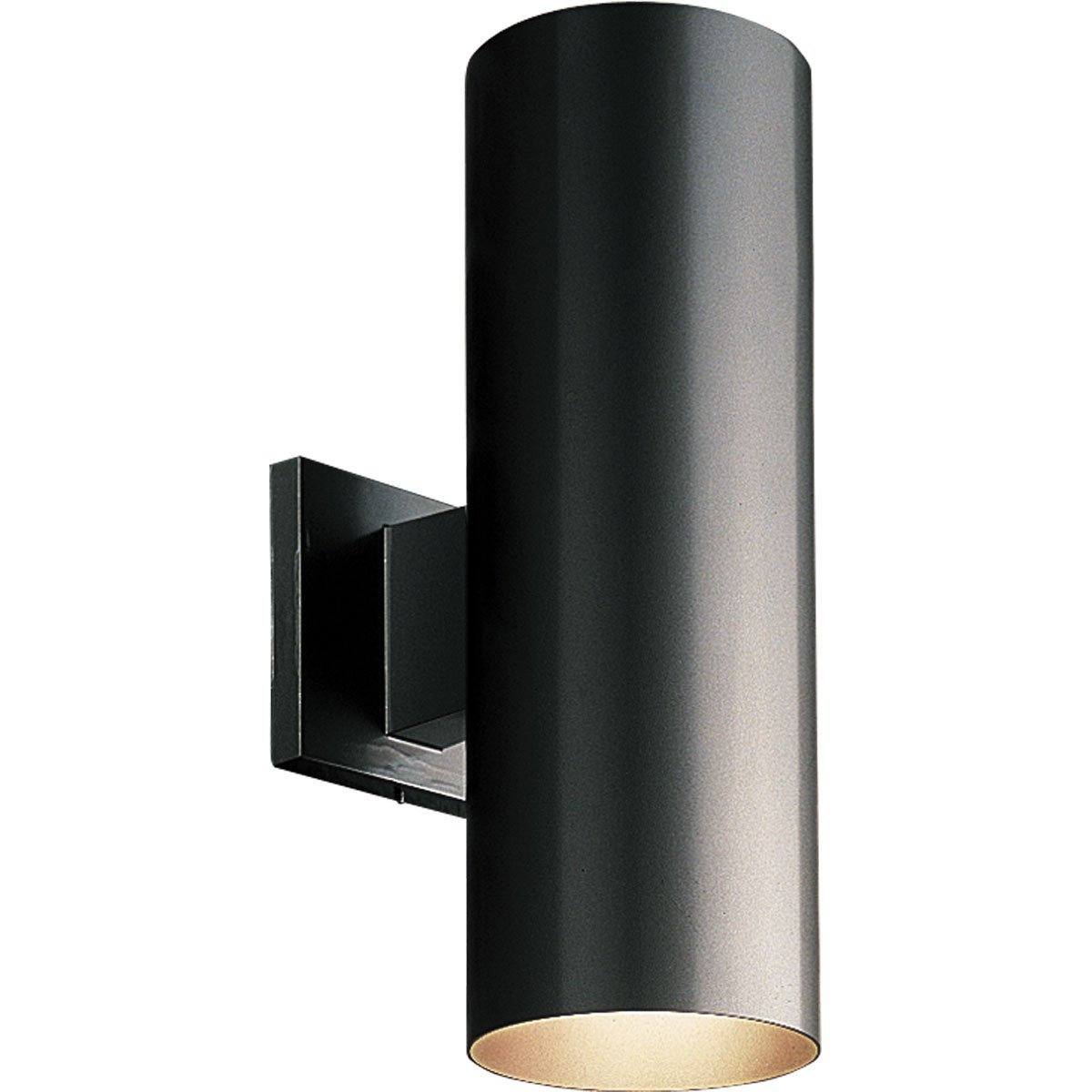 Progress Lighting P5675-31 5-Inch Up/Down Cylinder with Heavy Duty Aluminum Construction and Die Cast Wall Bracket Powder Coated Finish UL Listed For Wet Locations, Black