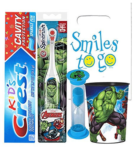 Avengers Hulk Inspired 4pc Bright Smile Oral Hygiene Bundle! Turbo Powered Toothbrush, Toothpaste, Brushing Timer & Mouthwash Rinse Cup! Plus Dental Gift Bag & Tooth Saver Necklace!