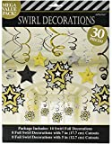 Amscan Black, Gold and Silver Hollywood Movie Themed Party Star Studded Hanging Swirl Decorations, Paper, Pack of 30 Costume Supplies (180 Piece)