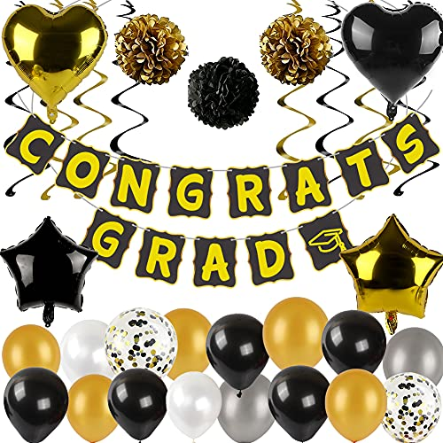 LOVESTOWN 65 Pcs Graduation Party Decorations Black and Gold, 65 Pcs Black Gold White Balloons Decorations Set with Blank Black Paper Banners Confetti Balloons Graduation Party Supplies New Year Eve Party Supplies
