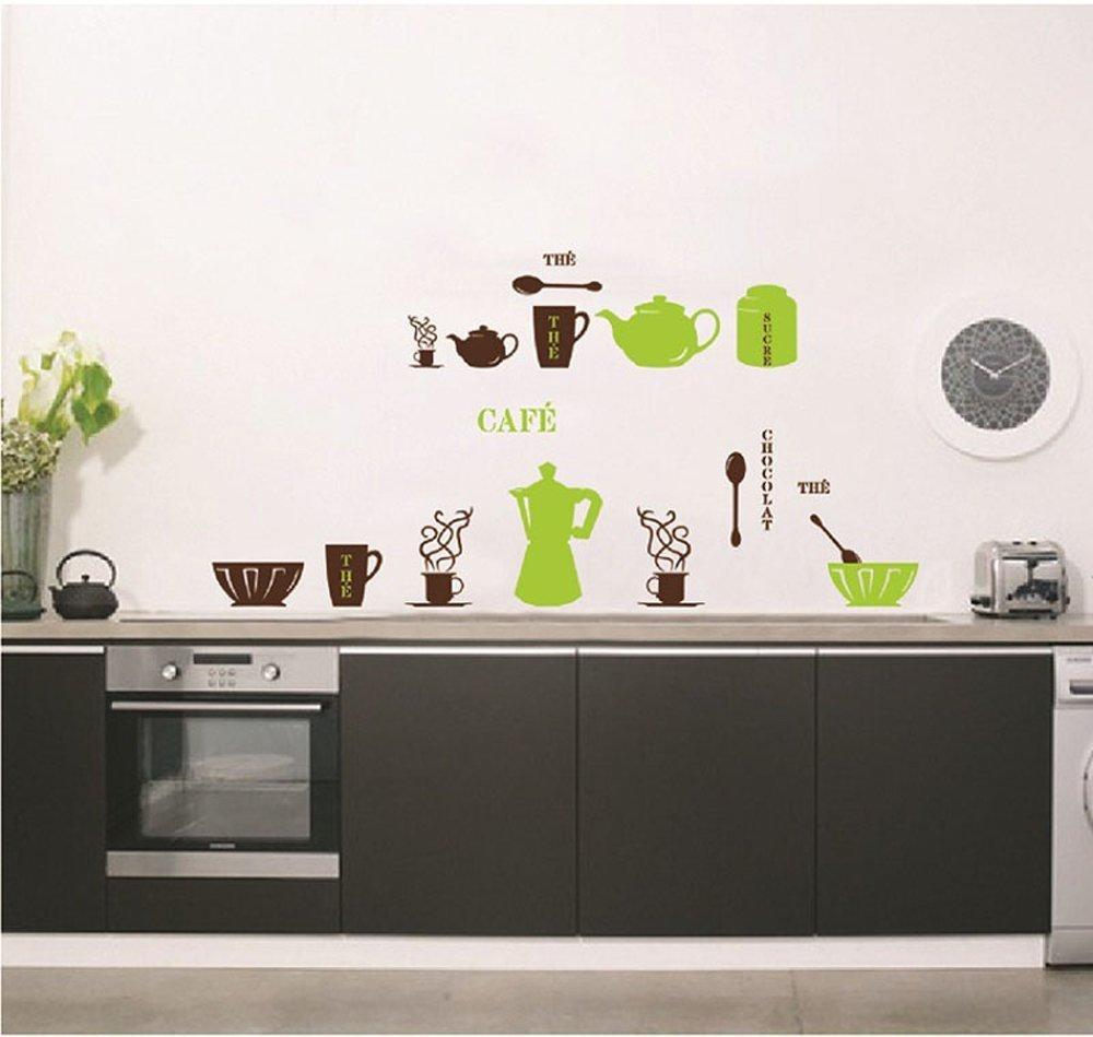 ufengke® Personalisierte Geschirr Geschirr Wandsticker, Teekanne ...