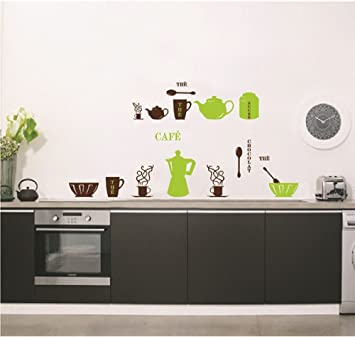 ufengke® Vaisselle de Cuisine Personnalisé Stickers Muraux, Théière ...