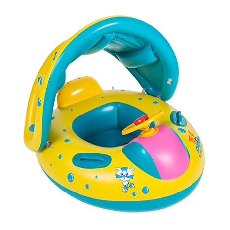 Flotador para bebé con asiento,respaldo,techo del sol,barca bebé de piscina