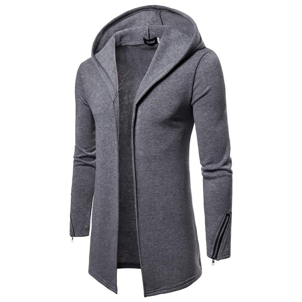 Mens Casual Coats Clearance Toamen Autumn Winter Warm Zipper Slim Long Hooded Trench Jacket Cardigan Outwear Blouse