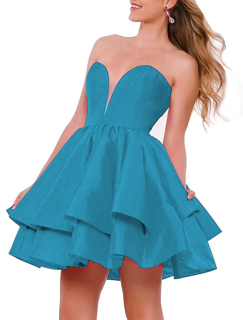 bluee JQLD Women Strapless Short Homecoming Dresses Ruffles Satin Prom Gown Formal with Pocket