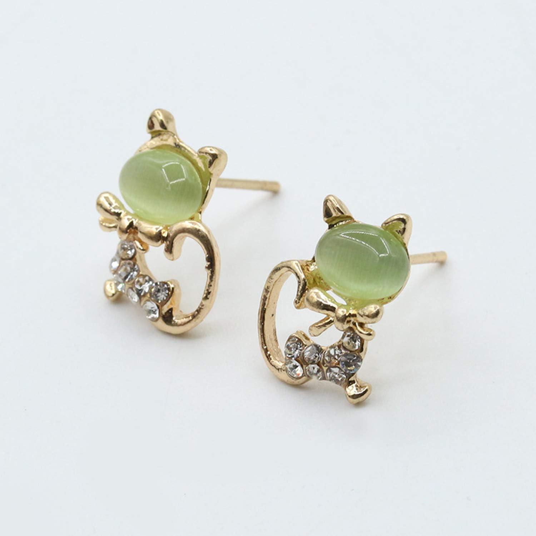 FayOK 0179 Opal Diamond Ear Studs Shiny Cat Ear Stud Earrings Korea Cute Animal Earrings Green Cat Eye