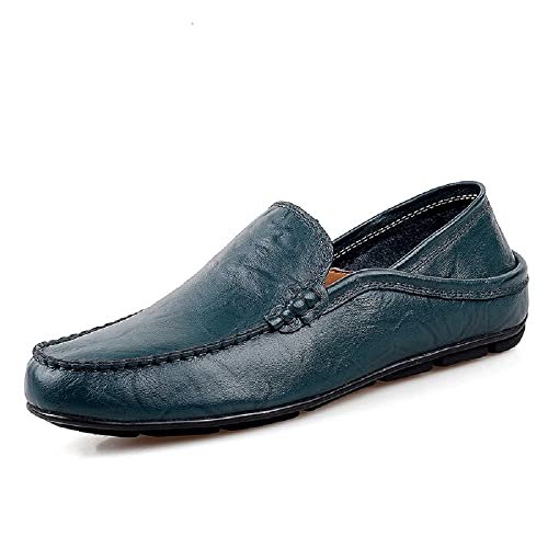 Mens Loafer Flats Shoes Casual Leather Slip On Work Drive Utility Footwear Black Brown Blue 6-12