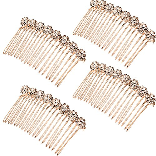 Gejoy 4 Pack Rhinestone Alloy Flower Hair Side Combs Wedding Bridal Jewelry Hair Clips for Women, Rose Gold
